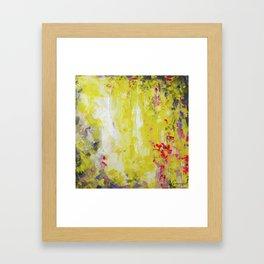 Yellow, bright hot pink, charcoal grey - Abstract no.50 Framed Art Print