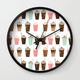 Iced Coffee - latte mocha coffee cafe summer cappuccino dessert sweet treat caramel pattern  Wall Clock