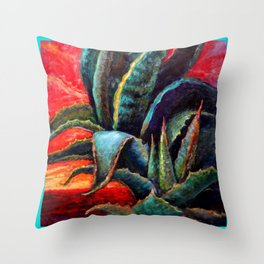 Southwest-western Style Desert Agave in Sunrise Throw Pillow