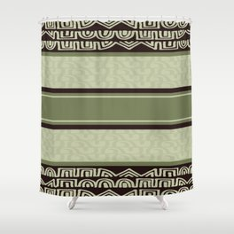 Sage green and brown tribal Shower Curtain