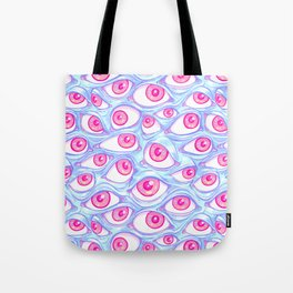 Wall of Eyes in Baby Blue Tote Bag