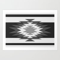 Aztec - black and white Art Print