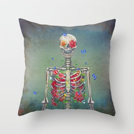 Blooming skeleton on the grunge background  Throw Pillow