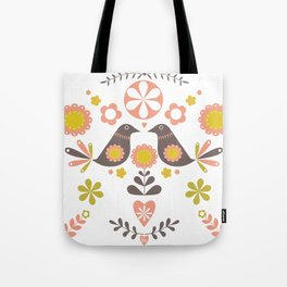 Scandinavian Folk Bird Print  Tote Bag