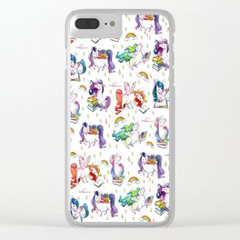 Reading Unicorn Pattern Clear iPhone Case