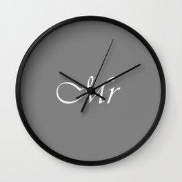 Mr Monogram Gray Cursive Wall Clock