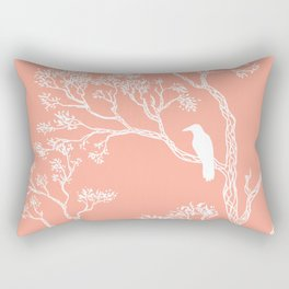 Crow in a tree peach color Rectangular Pillow