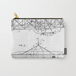 Wright Brother's Airplane Patent - Aviation History Art - Black And White Carry-All Pouch