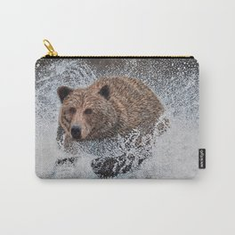 Grizzly Bear Running in the Water Carry-All Pouch
