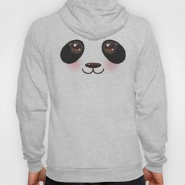 Kawaii funny panda white muzzle with pink cheeks and big black eyes  on white background Hoody