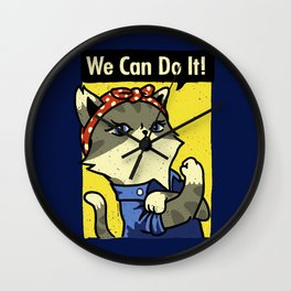 Purrsist! We Can Do It! Wall Clock