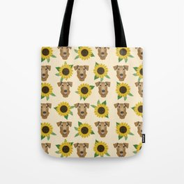 Airedale Terrier Sunflower floral print cute dogs and flowers design Tote Bag