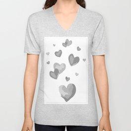 White Love Heart Lock Two Hearts Smitten Soul Mate Lovers Husband Wife Eternal Sweetheart Vibes Unisex V-Neck