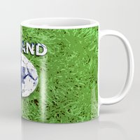 finland Mugs featuring Old football (Finland) by seb mcnulty