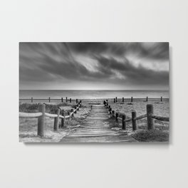 """""""To the beach...."""" BW. At sunset Metal Print"""