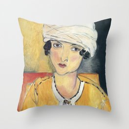 Vintage poster-Henri Matisse-Lorette with turban and yellow vest. Throw Pillow