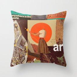 Archival World Throw Pillow