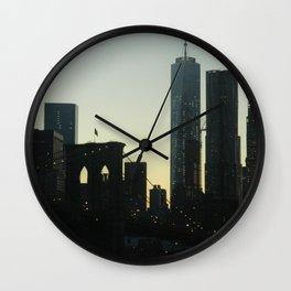 New York City Skyline at Dusk Wall Clock