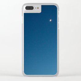 Ombre Sky, Crescent Moon Clear iPhone Case
