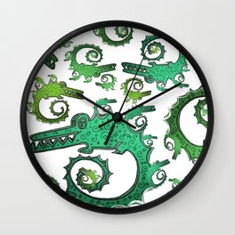 Crazy Fractal Alligators Wall Clock