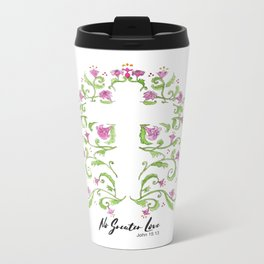No Greater Love Floral Cross Metal Travel Mug