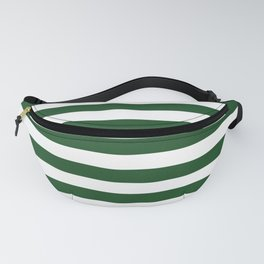Large Forest Green and White Rustic Horizontal Beach Stripes Fanny Pack