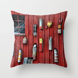 Red Wall Buoy Throw Pillow