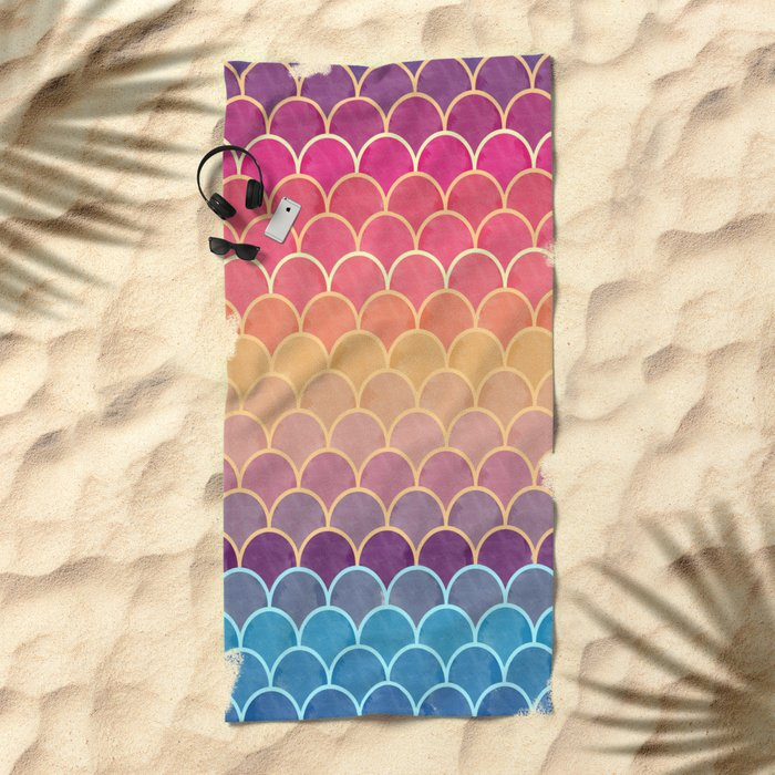 Watercolor Lovely Pattern VVIV Beach Towel