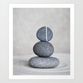 Zen cairn pebble stone balance grey Art Print