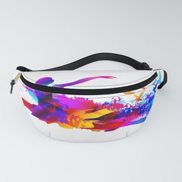 Colorful ballet dancer with flying birds Fanny Pack