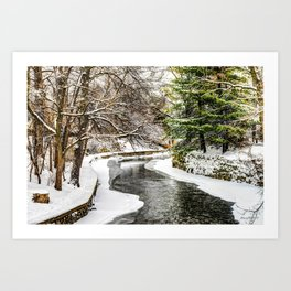 The Riverwalk in Winter Art Print