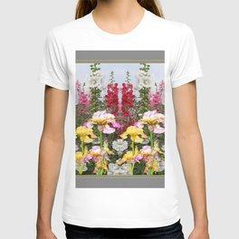 YELLOW  & GREY IRIS HOLLYHOCK FLOWER GARDEN DESIGN T-shirt