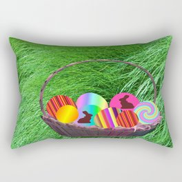 Easter Basket with colorful eggs Rectangular Pillow