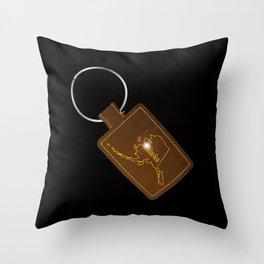 Alaska Leather Key Fob Throw Pillow