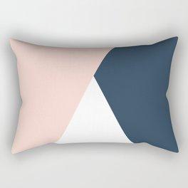 Elegant blush pink & navy blue geometric triangles Rectangular Pillow
