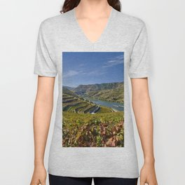 A cruise ship on the river Douro, Portugal Unisex V-Neck