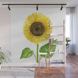 Sunflower watercolor Wall Mural