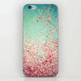 Blue Autumn, Pink leafs on blue, turquoise, green, aqua sky iPhone Skin