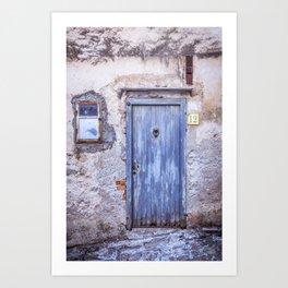 Old Blue Italian Door Art Print