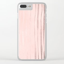 Rose Gold Pastel Pink Vertical Stripes Clear iPhone Case