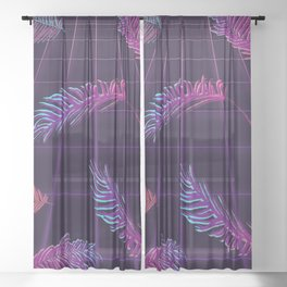 Synthwave Palm Leaves Sheer Curtain