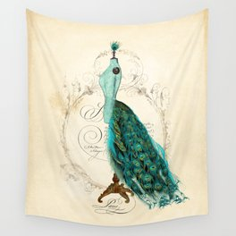 Peacock bustle mannequin Wall Tapestry