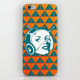 Faces: SciFi lady on a teal and orange pattern background iPhone Skin