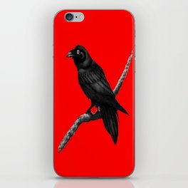 Decorative Chinese Red Black Crow Design iPhone Skin