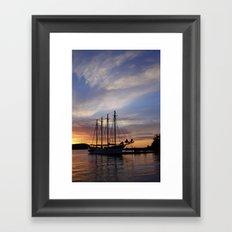 Schooner at sun rise Framed Art Print