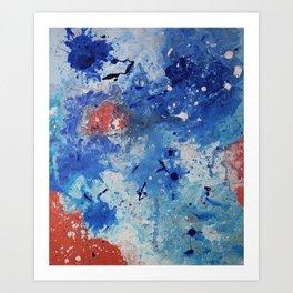Abstract Coral Sea Blu Art Print