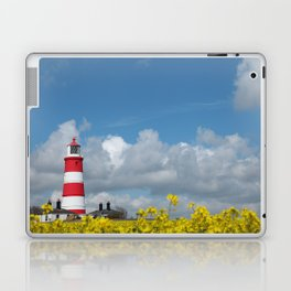 Happisburgh Lighthouse surrounded by Yellow flowering Oil Seed Rape Laptop & iPad Skin