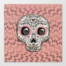 Pink & Gold Hearts Whimsical Sugar Skull Canvas Print