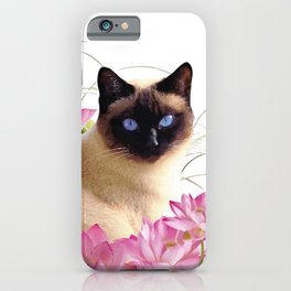 Siam Cat with pink Lotus Flower Blossoms iPhone Case