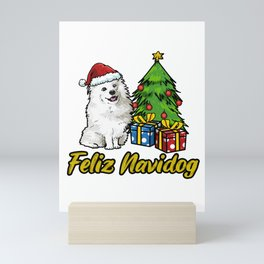 Feliz Navidog Samoyed Christmas Gift Mini Art Print